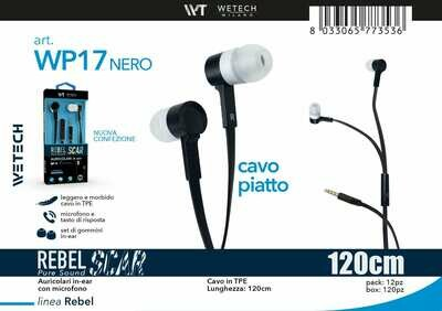 AURICOLARE IN-EAR CON MICROFONO  CAVO ULTRA -PIATTO 8033065773536 AURICOLARE IN-EAR CON MICROFONO  CAVO ULTRA PIATTO