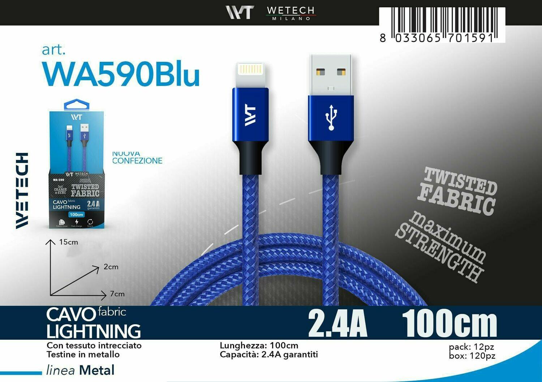 Cavo Lightning Fabric 2.4A 100cm - blu