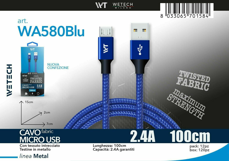 Cavo micro USB Fabric 2.4A 100cm - blu