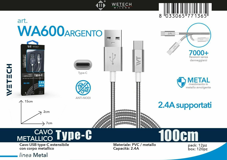 CAVO METALLICO PERFORMANCE 2,4A TYPE C ARGENTO 8033065771365 CAVO METALLICO PERFORMANCE 2,4A TYPE C ARGENTO