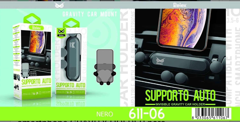 RZJ116 supporto auto per smartphone GRAVITY HOLDER nero