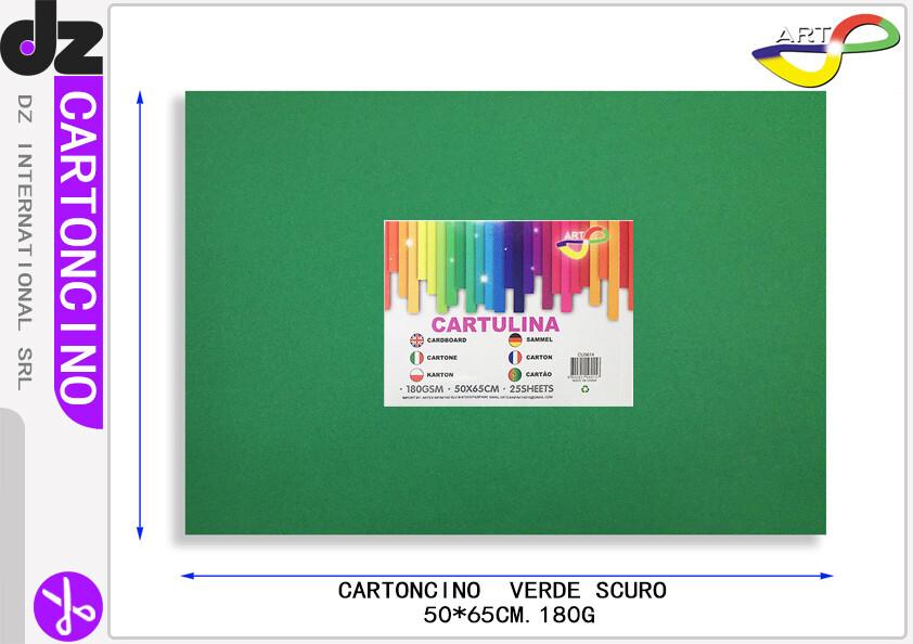 CARTONCINO VERDE SCURO 50X65CM 180G 25