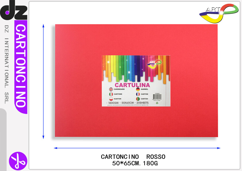 CARTONCINO ROSSO SANDIA 50X65CM 180G/25