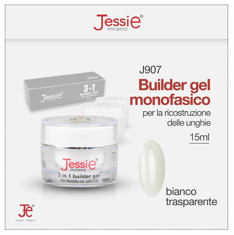 3 IN 1 BUILDER GEL MONOFASICO UV LED 15ML  BIANCO TRASPARENTE