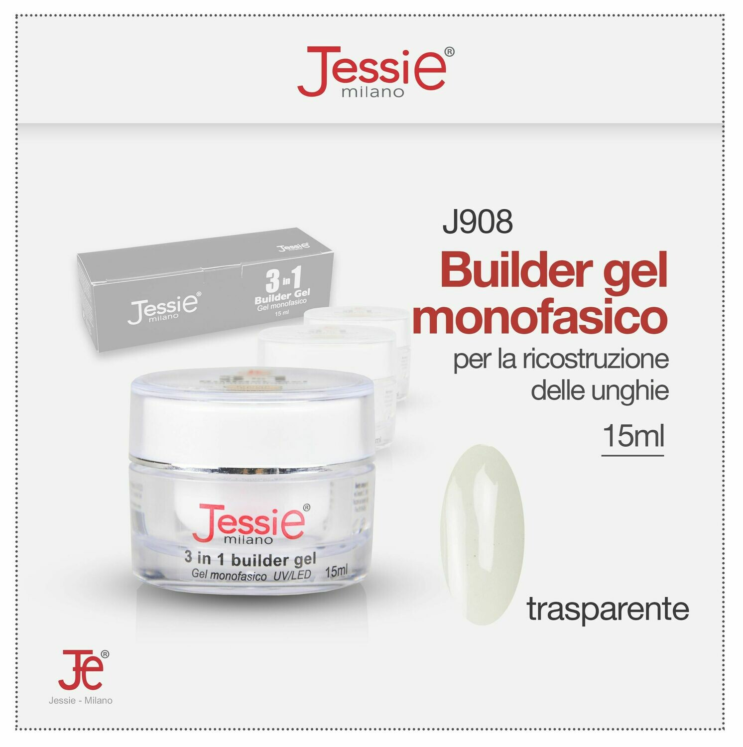3 IN 1 BUILDER GEL MONOFASICO UV LED 15ML  TRASPARENTE