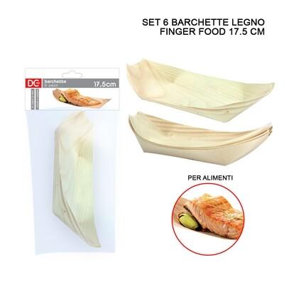 BARCHETTA LEGNO FINGER FOOD 17,5CM 6PZ ASS.