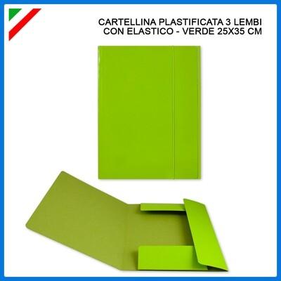 CARTELLINA C/ELAST. 3/L 25X35CM VERDE CHIARO