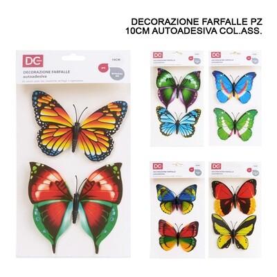 DECORAZIONE ADESIVA PLASTICA FARFALLA 10CM 2PZ