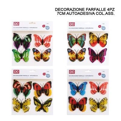 DECORAZIONE ADESIVA PLASTICA FARFALLA  7CM 4PZ