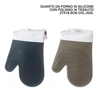 GUANTO FORNO SILICONE C/POLSINO 27X18.5CM ASS.
