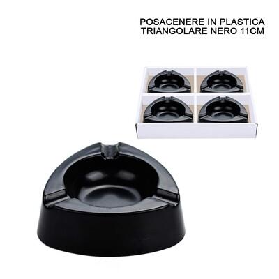 POSACENERE PLASTICA NERO TRIANGOLARE 11CM