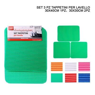 TAPPETO LAVELLO A/SCIVOLO 3PZ 30X40-30X30CM ASS