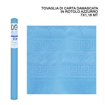TOVAGLIA CARTA DAMASCATA ROT. 7X1,18M AZZURRO