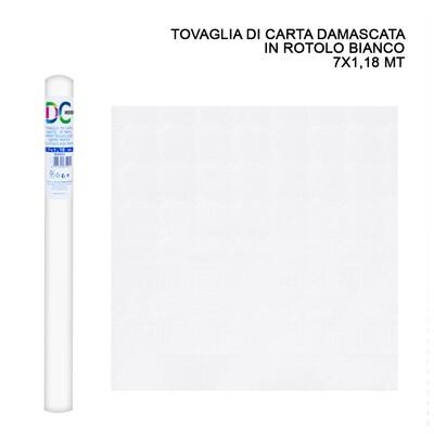 TOVAGLIA CARTA DAMASCATA ROT. 7X1,18M BIANCO
