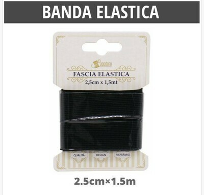 BANDA ELASTICA PIATTO NERO25MM*1.5M