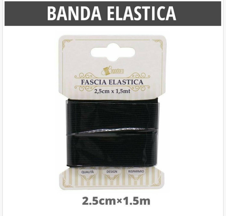 BANDA ELASTICA PIATTO NERO25MM*1.5M