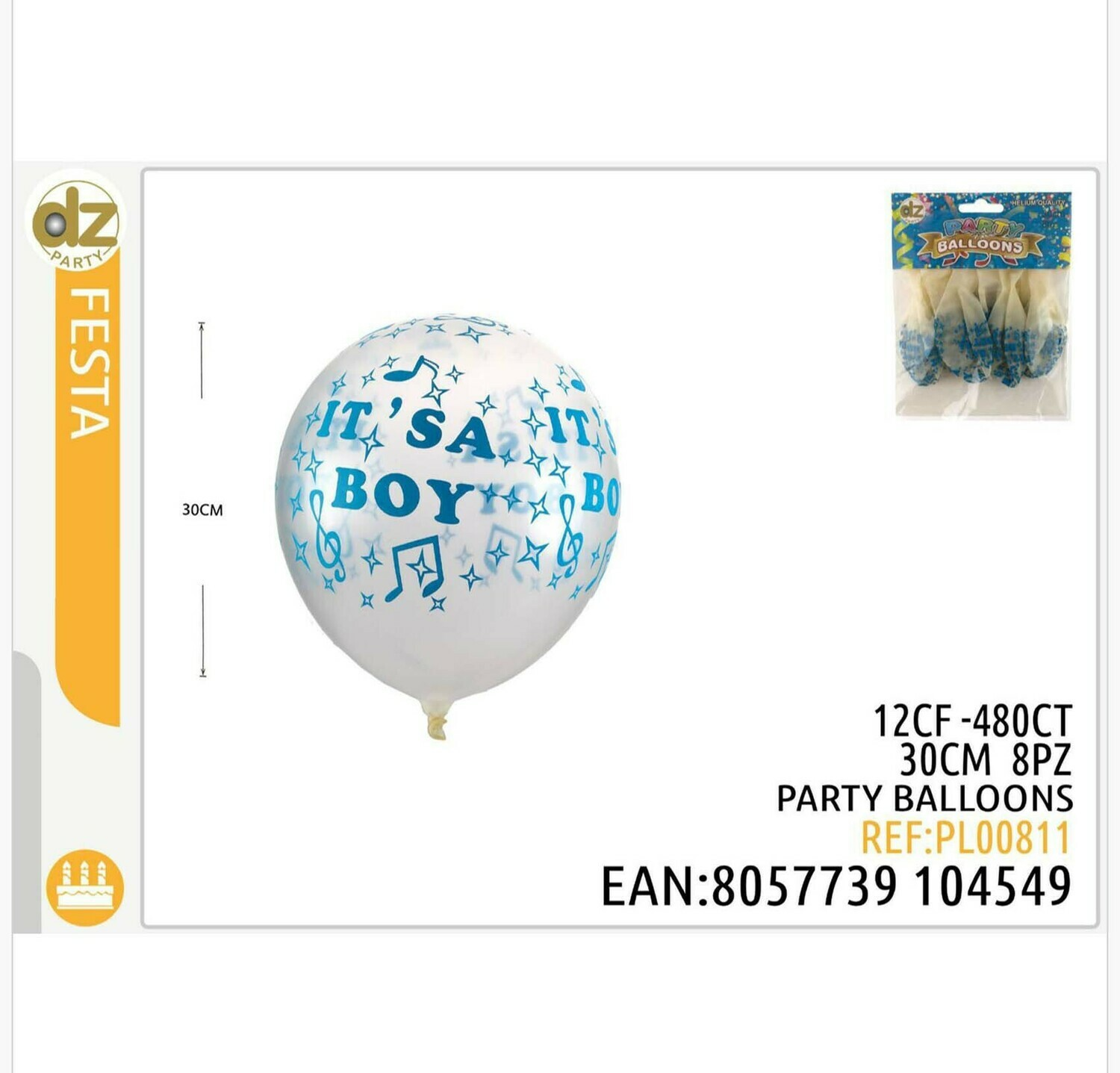 8 PALLONCINO TRASPARENTE DECORATA IT S A BOY