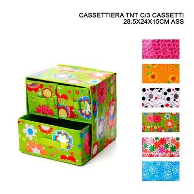 CASSETTIERA TNT C/3 CASSETTI 28.5X24X15CM ASS