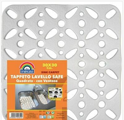 TAPPETO LAVELLO SAFE QUADRATO C/ VENTOSE 30X30CM