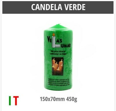 CANDELA VERDE 150X70MM 450G