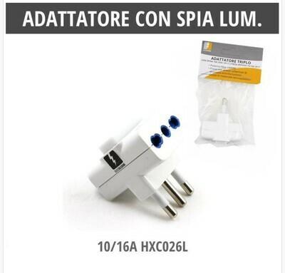 ADATTATORE CON SPIA LUMINOSA 10/16A 2P+T