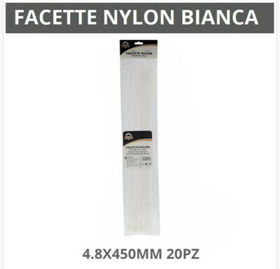 FASCETTE NYLON BIANCHE 4.8X450MM 20PZ