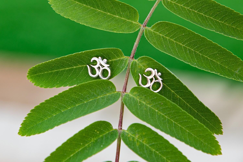 OM Earrings - Sterling Silver