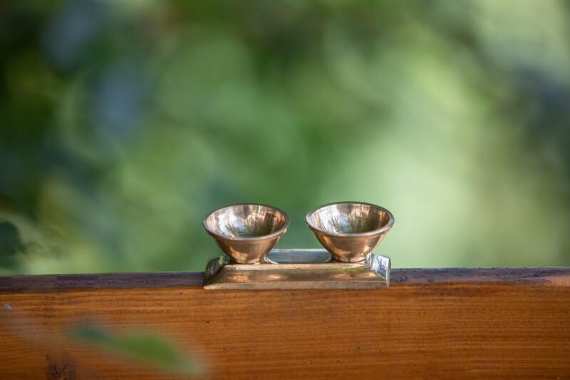 Brass Puja Double Bowl Set