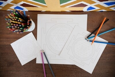 Sri Yantra Colouring Cards