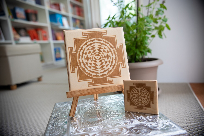Sri Yantra Laser Cut Wood Plaque