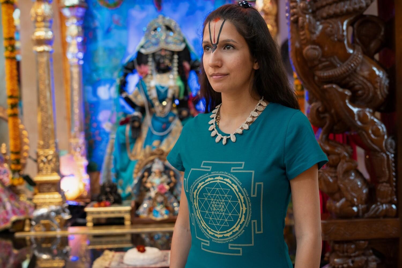 T-shirt 'Sri Yantra' - Dark Turquoise