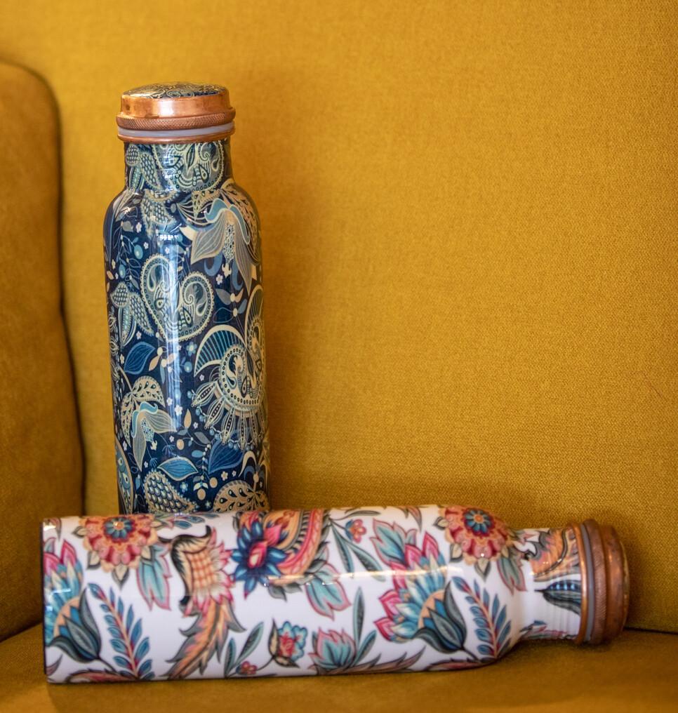 Copper Water Bottle: Peacock Motif