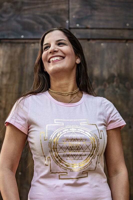 T-shirt 'Sri Yantra' - Rose Pink with Gold Foil Print