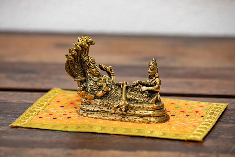 Lord Narayana with Maha-Lakshmi on Adishesha