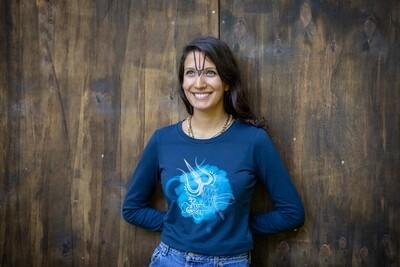 Long Sleeve T-shirt 'Om Namah Shivaya' - dark blue