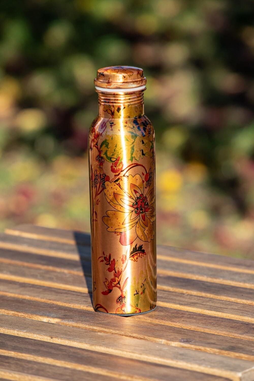 Copper Water Bottle: Flowers