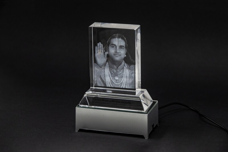 Etched Glass Photo of 'Paramahamsa Vishwananda' with a LED Light Base