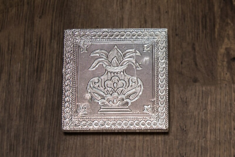 Small Asanam/Puja Plate Table, silver