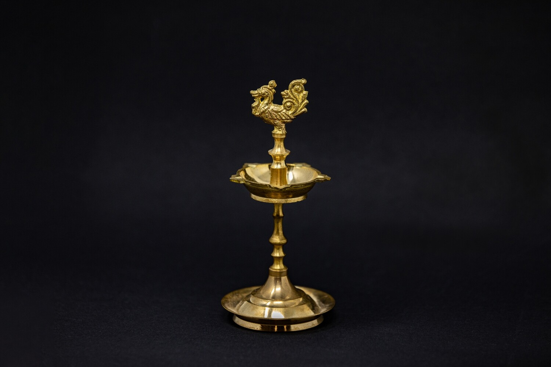 Standing Peacock Oil Lamp