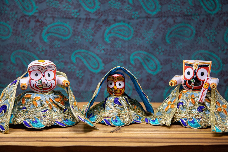 Jagannath - Subhadra - Balaram deities - medium wooden