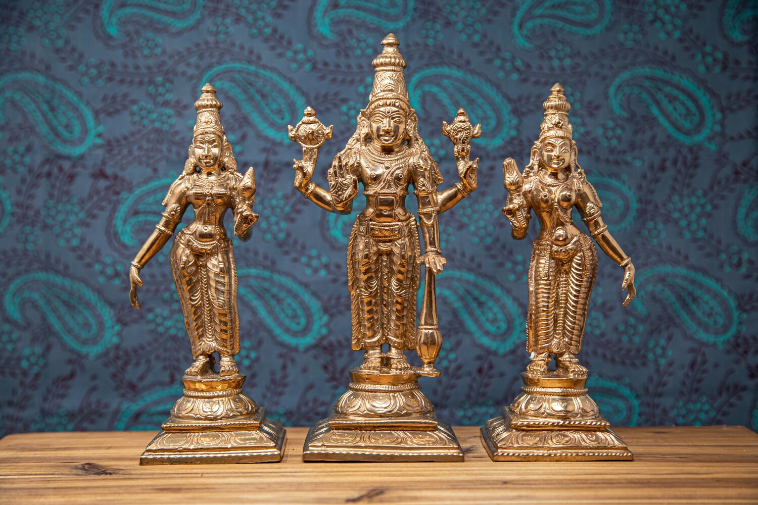 Sri Perumal With Sri Devi & Bhu Devi Set - panchaloha