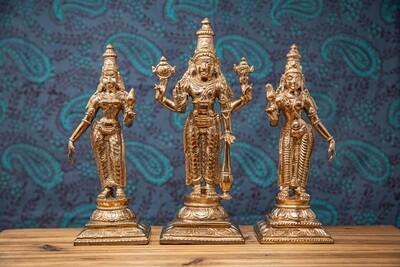 Sri Perumal With Sri Devi & Bhu Devi Set - panchaloha