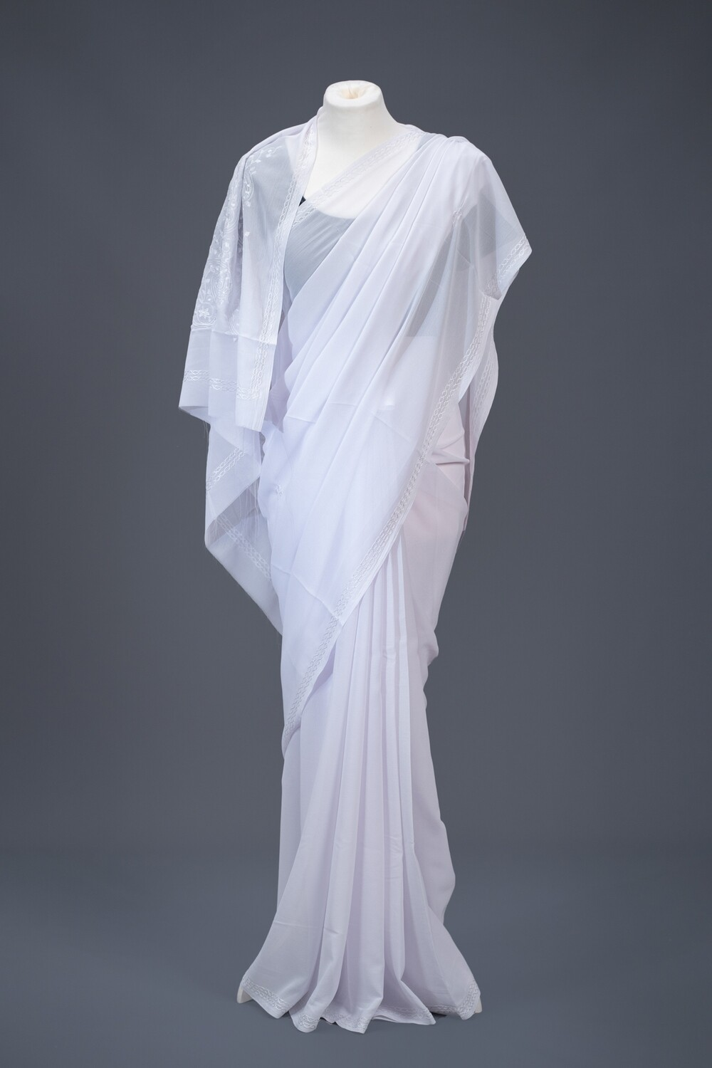 Simple White Saree