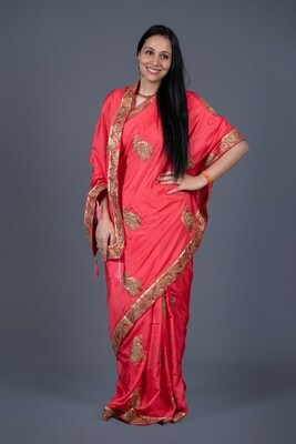 Coral Red Saree