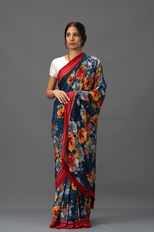 Navy Blue & Red Printed Saree