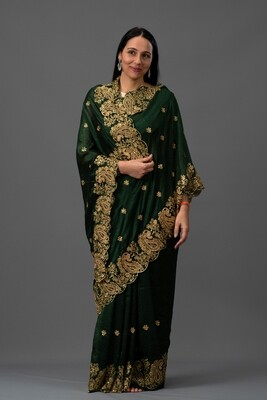 Embroidered Paisley Saree