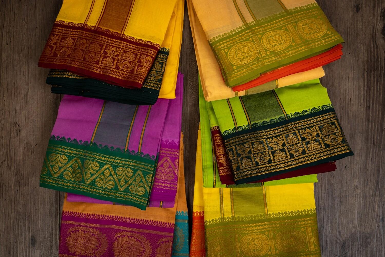 Multicolour Dhoti with Jacquard border
