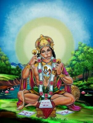 Hanuman with Rama and Sita in his heart