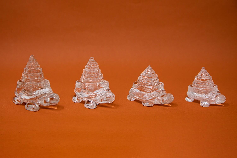MahaMeru Sri Yantra on Tortoise - Clear Quartz