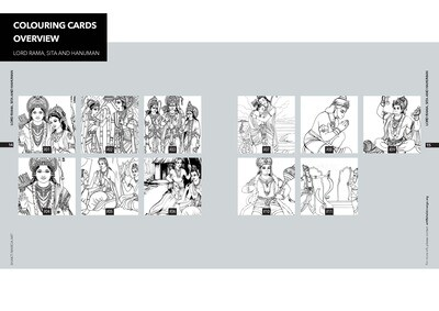 Colouring Cards 'LORD RAMA, SITA and HANUMAN'